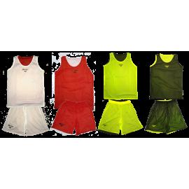 Tnue de basket réversible rouge- blanc et jaune- noir